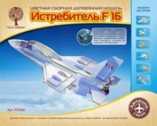 """Сборная деревянная модель, цветная """"Самолет F-16"""", Чудо-дерево (VGA Wooden Toys)"""