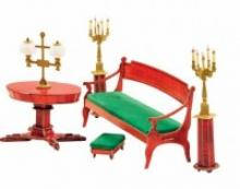 """Сборная модель из картона """"Диван и овальный стол"""", 41 деталь (из гостиной домика Нащокина), Умная бумага"""