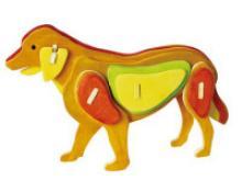 """Деревянный 3D пазл """"Собака"""" (6 красок и кисть в комплекте), 24 детали, Robotime"""