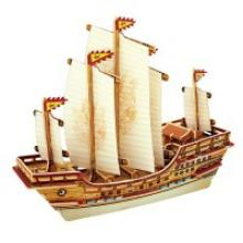 """Деревянный 3D пазл """"Китайский корабль"""", 66 деталей, Robotime"""