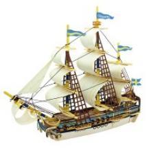 """Деревянный 3D пазл """"Шведский корабль"""", 52 детали, Robotime"""