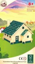 """Сборная деревянная модель """"Европейский дом"""" (зеленый), Чудо-дерево (VGA Wooden Toys)"""