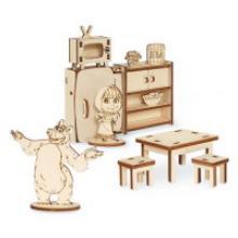 """Конструктор из фанеры """"Мебель. Маша и Медведь"""", 42 детали, Маша и Медведь"""