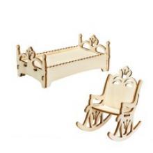 """Мебель для кукол """"Принцесса LO! Кресло-качалка и кроватка"""", IQ FORMAT"""