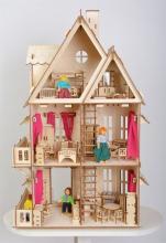 """Сборный деревянный конструктор """"Кукольный домик"""", вид сзади с мебелью и куклами (в комплект не входят), Большой слон Д-001"""