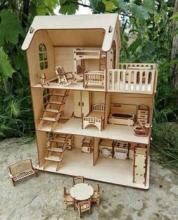 """Деревянный конструктор """"Eco Дом"""", пример с мебелью, Polly ДК-1-004"""
