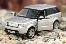"""Коллекционная металлическая модель автомобиля """"Land Rover Sport"""", серебрянный с открытыми дверьми, IDEAL 019064"""