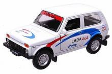 Масштабная металлическая модель автомобиля Lada 4x4 Нива (ВАЗ-2121), Rally, 1:34-39, вид сбоку, Welly 42386RY