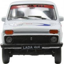 Масштабная металлическая модель автомобиля Lada 4x4 Нива (ВАЗ-2121), Rally, 1:34-39, вид спереди, Welly 42386RY