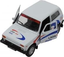 Масштабная металлическая модель автомобиля Lada 4x4 Нива (ВАЗ-2121), Rally, 1:34-39, вид с открытыми дверьми, Welly 42386RY