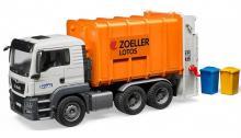 Модель автомобиля мусоровоз MAN TGS, вид спереди-сбоку, Bruder (Брудер) 03-762