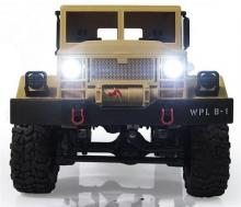 Радиоуправляемая модель Краулера Military Truck M923 4WD RTR 1:16, вид спереди с включеными фарами, Aosenma WPLB-14