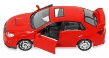 """Коллекционная металлическая модель """"Subaru WRX STI"""", красного цвета с открытыми дверьми, IDEAL 034024"""
