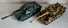 Взять на прокат модели танков Leopard и Tiger на радиоуправлении с ИК танковым боем, масштаб 1:28, фото вид спереди-сверху